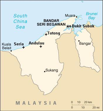 Brunei map with transmitter locations