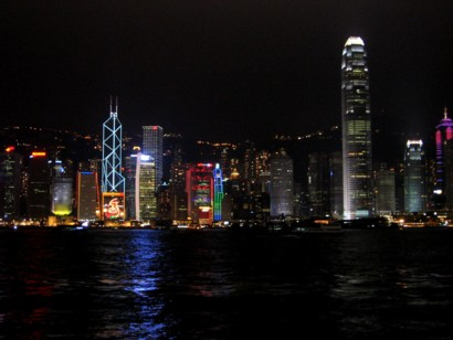 Hong Kong harbour by night